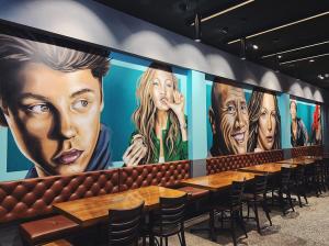 burger restaurant mural